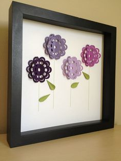 Purple Flowers, 3D Paper Art, personalized with your desired name