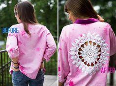 DIY Doily Embellished Shirt : DIY Clothes DIY Refashion