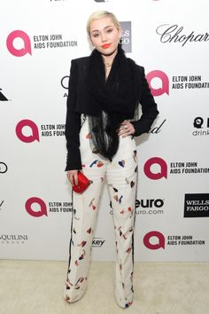 Miley Cyrus Elton John AIDS Foundation Academy Awards Viewing Party 2015