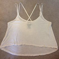Rue 21 Cream Cropped Top Cool Straps Size Small Rue 21 cream cropped top, cool straps, loose, size small, only worn once. Rue 21 Tops Crop Tops
