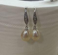 Pearl earringbridal jewelry wedding earringgenuine by jewelryTang