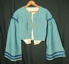 BLUE 1860S CHALLIS BODICE, VERY LONG, WIDE SLEEVE
