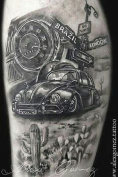 Ideas Cars Drawing Volkswagen For 2019 Vw Tattoo, Beetle Tattoo, Car Tattoos, Sexy Tattoos, Body Art Tattoos, Tattoos For Guys, Tattoo Sleeve Designs, Sleeve Tattoos, Piston Tattoo