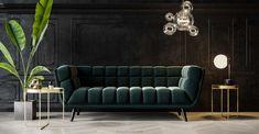 """Un intérieur très """"Parisian Chic"""" avec NV Gallery - Frenchy Fancy Industrial Home Design, Industrial House, Canapé Design, House Design, Canapé Convertible Design, Magazine Deco, Mansion Designs, Green Sofa, Parisian Chic"""