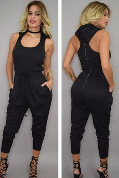 Black Hoodie Jumpsuit. This jumper is ideal for achieving a comfy, yet sexy look! Stretchy fabric made, this jumper has a stylish design with hoodie on back, scoop neckline, elastic waist with string and ties, harem pants with sacks on both sides, sleeveless and racer back with silver zipper. Features•Every piece is sexy, chic and perfect for modern ladies•Made with fine quality and fashion styles to show a sexy shape• jumpsuits for party, club, beach or …