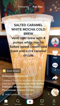 Coffee Drink Recipes, Coffee Drinks, Iced Coffee, Starbucks Secret Menu Drinks, Starbucks Coffee, Healthy Starbucks Drinks, Yummy Drinks, Smoothie Drinks, Smoothies