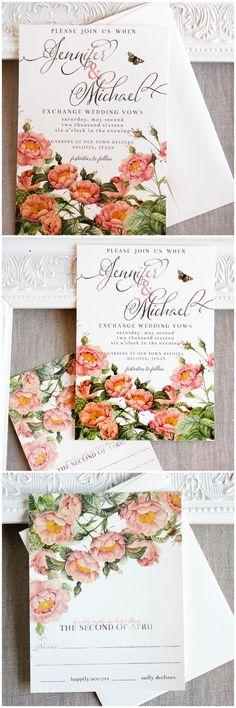 Blush Pink and Gold Roses Wedding Invitation, Botanical, watercolor, garden wedding
