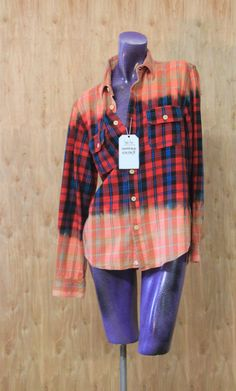 Studio Vivus Ombré Flannel Shirts:  Bleach Dipped Wearable Art