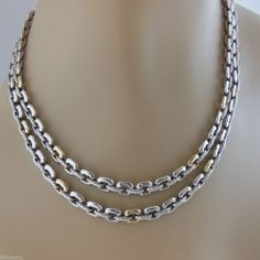 "DAVID YURMAN STERLING SILVER 18K GOLD 17.5"" DOUBLE ROW BOX LINK TOGGLE NECKLACE   RETAIL:   $1995   BELLA TUTTO:  $1195 - SOLD!"