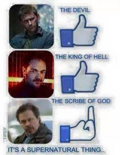 well it's a Supernatural thing ^_^    Lucifer    Crowley    Metatron The scribe of God