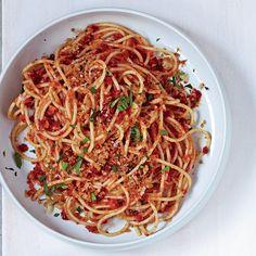 Spaghetti with Sun-Dried-Tomato-Almond Pesto | Food & Wine