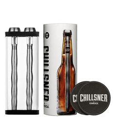 Corkcicle Chillsner beer chillersChillsner  Forgot to put his favorite brew in the fridge? Pop one of these chillers into the bottle (he can drink through it!) and it will be instantly frosted to perfection. He'll drink to that!  To buy: $30 for two, corkcicle.com.