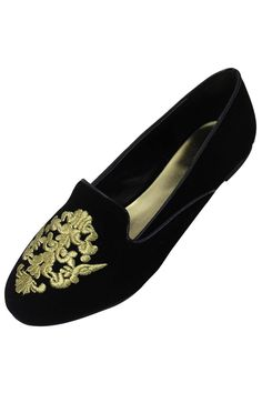 b58be5f8165 Suede Style Loafer Flats With Regal Gold Trim