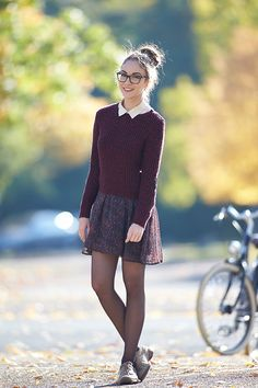 Wearing: LOVE knit sweater with heart elbow patch (direct link) // Urban Outfitters dress worn as skirt Maison Scotch blouse worn und...