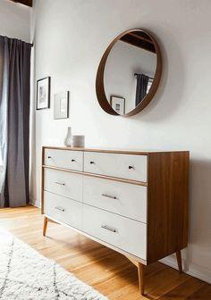 West Elm dresser adds to the sophistication of the modern bedroom – Decoist – Dresser Decor Modern Bedroom Furniture, Furniture Design, Bedroom Decor, Bedroom Lighting, 60s Bedroom, City Bedroom, Modern Bedrooms, Furniture Market, Cheap Furniture