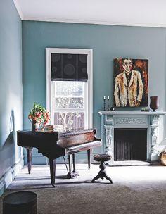 Living room | Blue | Grand piano | Period fireplace | Modern | Livingetc