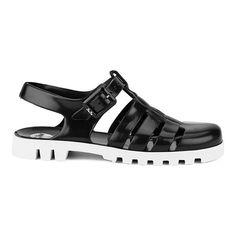 JuJu Women's Maxi Jelly Sandals Black/White Women (£12) ❤ liked on Polyvore featuring shoes, sandals, white and black shoes, jelly sandals, black white sandals, jellies shoes and juju footwear