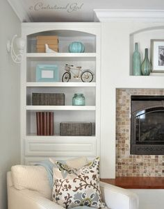 Want to do a built in bookshelf similar to this one next to the fireplace someday                                                                                                                                                                                 More