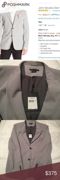 John Varvatos Star USA Men's Two-Button Soft Jacke Brand New with Tags 42R 98% Cotton, 2% Elastane Imported Dry Clean Only Two-button jacket featuring peaked lapels, welted chest pocket, and besom pockets at waist Center-back vent John Varvatos Suits & Blazers Sport Coats & Blazers