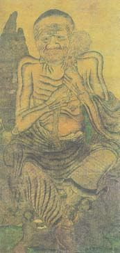 """《十六罗汉图》局部畫羅漢[6],""""胡貌梵相,曲尽其态"""