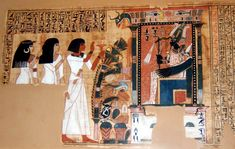 Page of the Book of the Dead. The scribe Nebqed, followed by his mother Amenemheb and wife, Meryt.
