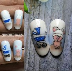 Pig nail art is in a high demand now. The 2019 year is a year of a yellow pig. See the cutest nail designs with this year`s symbol! Pig Nail Art, Baby Nail Art, Pig Nails, Rose Nail Art, Rose Nails, Baby Boy Nails, Baby Shower Nails, Pretty Nail Designs, Toe Nail Designs