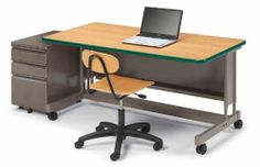 """Smith System 26596 ADA Computer Desk (24"""" D X 60""""W) by Smith System. $555.95. The ADA Computer Desk is a versatile, ergonomic school computer desk that easily accommodates students of almost any age, including those in wheelchairs. The hand-crank on this school computer desk is a teacher's dream because it was especially designed to adjust the tabletop height with equipment still on the surface. Through years of students and classwork, the laminate surface stays sm..."""