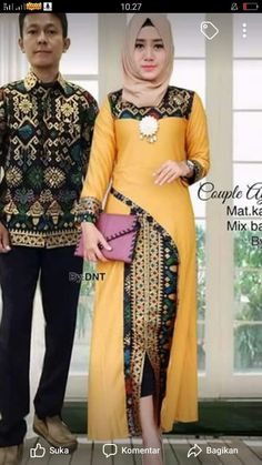 Sezi m ada g ya. Batik Fashion, Abaya Fashion, Muslim Fashion, African Attire, African Fashion Dresses, Modesty Fashion, Fashion Outfits, Batik Couple, Hijab Trends