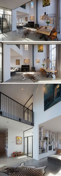 Inside this modern house, the dining room and living room have an open floor plan, with the dining area defined by the double height ceiling that measures in at 20ft (6m) tall.