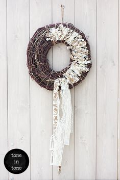 H.O.M.E. #Dress #Up #Your #Door or #Wall with this #DIY #nature #white #wreath #handmade #interior #decoration | by toneintone White Wreath, Wreaths, Doors, Halloween, Decoration, Interior, Wall, Nature, Handmade