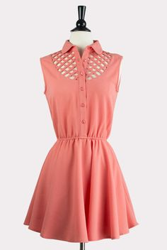 Coral Lattice Flared Dress | Hourglass Boutique - vintage-inspired women's clothing