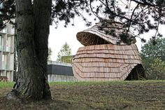 This shingled timber pavilion was created by ETH Zurich students, after developing robotic fabrication techniques to minimise construction waste Parametric Architecture, Pavilion Architecture, Construction Waste, Construction Process, Eco Environmental, Therme Vals, Wooden Pavilion, Lab, Digital Fabrication