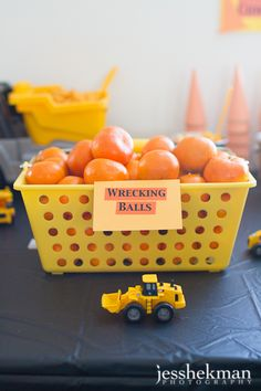 Cute idea for construction themed party and nutritious!  from jesshekeman photography