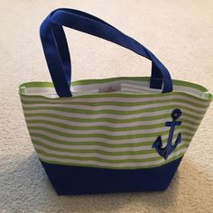 Tote Bag Can be used as purse, tote bag, beach bag. Inside wipes clean. Green and royal blue with Anchor. NWOT.  NO TRADES . Bottom of bag is about 7 inches. Quacker Factory Bags Totes