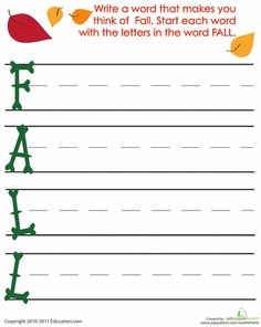 Fall First Grade Writing Sentences Poetry Worksheets: Acrostic Fall Poem. Do this for each season. 1st Grade Writing Worksheets, First Grade Writing, Teaching First Grade, Worksheets For Kids, Writing Activities, Seasons Worksheets, Therapy Activities, Writing Ideas, Sentence Writing