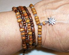 1 Buddhas Eye Adjustable Wood Bracelet Stackers Mix by rykasbeads, $7.00