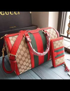 Gucci Vintage Web Original GG Canvas Boston Bag Red is the most valued bag integrating smart sophisticated style and well-known brand name reputation. View more Gucci bags at http://www.luxtime.su/gucci-bags