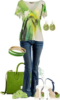 """""""Spring Green Casual"""" by shuchiu ❤ liked on Polyvore"""
