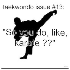 So you do karate? No I do Taekwondo, they are different. (: