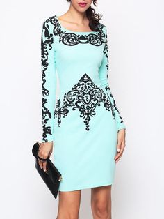 Scoop Neck Blended Dacron Printed Bodycon Dress