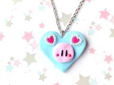 Clannad Pink Dango Necklace Blue Heart Pendant, Cute Polymer Clay Jewelry, Anime Jewelry, Dango Daikazoku, Anime Christmas, Kawaii Pendant