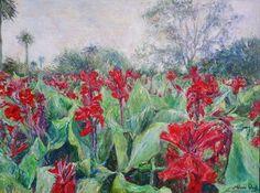 "Saatchi Art Artist Artem Bryl; Painting, ""Red gladioli field"" $1700 #art"