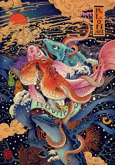 The Drawing and Illustration of Rion Wang Rlon Wang Art Designer and Illustration artist in Shenzhen China,One of the more popular Chinese illustrators, freelance illustrator. Art And Illustration, Nature Illustrations, Art Inspo, Art Asiatique, Japanese Artwork, Art Japonais, Art Graphique, Japan Art, Psychedelic Art