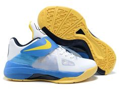 timeless design 57f5e 4eb69 New Edition Nike Kevin Durant 4 Basketball Sneakers (White Blue Yellow)