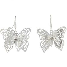Wholesale Silver Plated Hollow Butterfly Shape Earrings 27x22mm shopping online,buy Earrings without Crystal