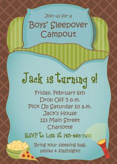 Boys Sleepover Birthday Party Invitation  by TheButterflyPress, $12.00