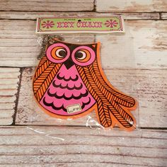 NOS Vintage Fitz and Floyd Owl Keychain Wooden by VintageJunqueAmy