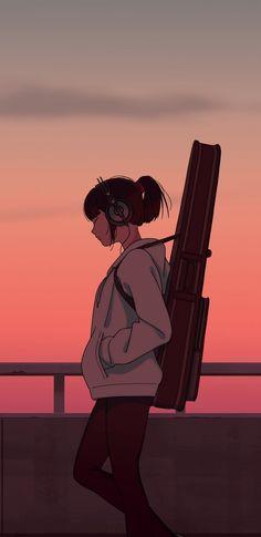 Girl musician, guitar, anime girl, sunset, art wallpaper – My CMS Fille Anime Cool, Art Anime Fille, Anime Girl Cute, Anime Art Girl, Anime Girls, Anime Girl Drawings, Cute Anime Pics, Cartoon Wallpaper, Anime Scenery Wallpaper