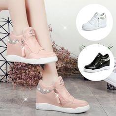 Fashion winter korean shoes 60 Ideas for 2019 Fancy Shoes, Pretty Shoes, Cute Shoes, Fashion Boots, Sneakers Fashion, White Wedge Sneakers, Korean Shoes, Girls Shoes, Korean Fashion