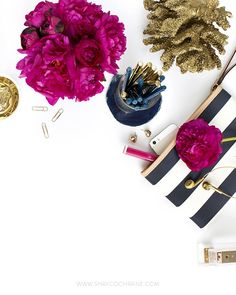 Desktop Styling.  Styled Stock Photography for bloggers and small businesses. Shay Cochrane. www.shaycochrane.com. Navy and Fuchsia. Office.Peonies.